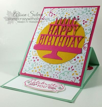 Party with Cake Easel Card www.stampcrazywithalison.ca