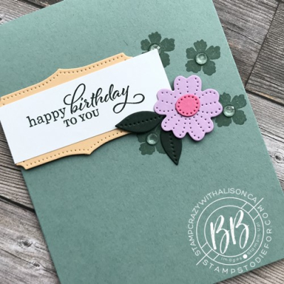 Hand Stamped CASED card created by our four year old granddaughter using Stampin' Up! papercrafting products