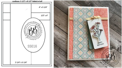 Iamge of card sketch and hand stamped card created using the skestch