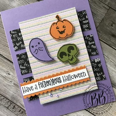 Image of card hand stamped using the Cutest Halloween Stamp set Halloween punch and Cute Halloween paper by Stampin Up